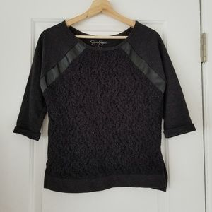 Jessica Simson Black 3/4Sleeve Top wLeather Accent